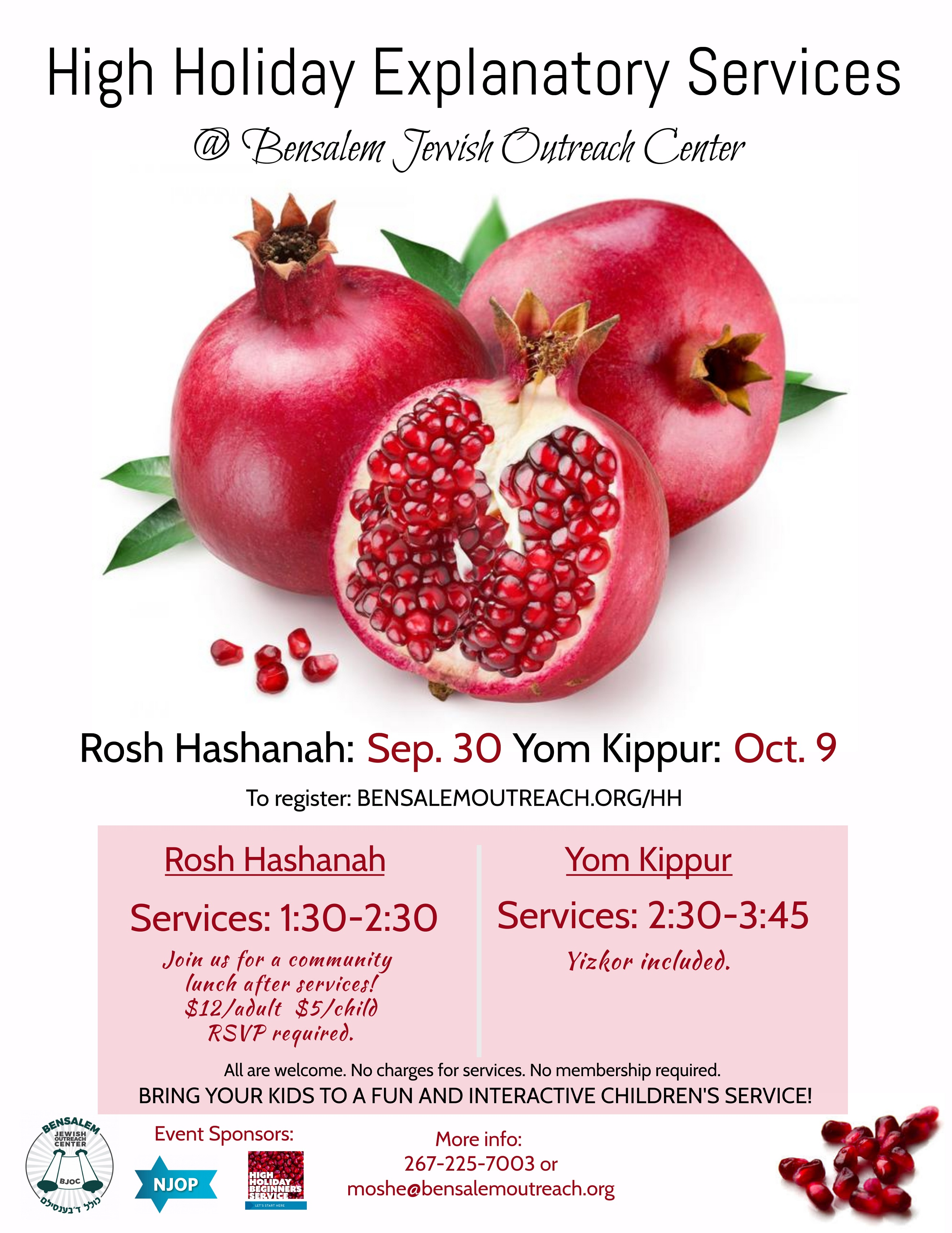 High Holiday's Explanatory Services and Rosh Hashanah Meals